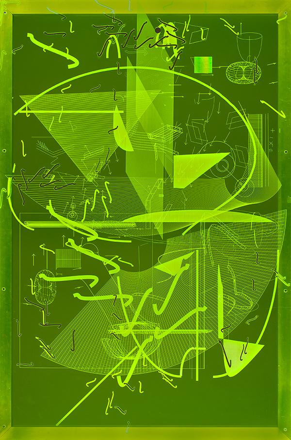 006_Fluorescentplexiglass sheet on aluminium frame