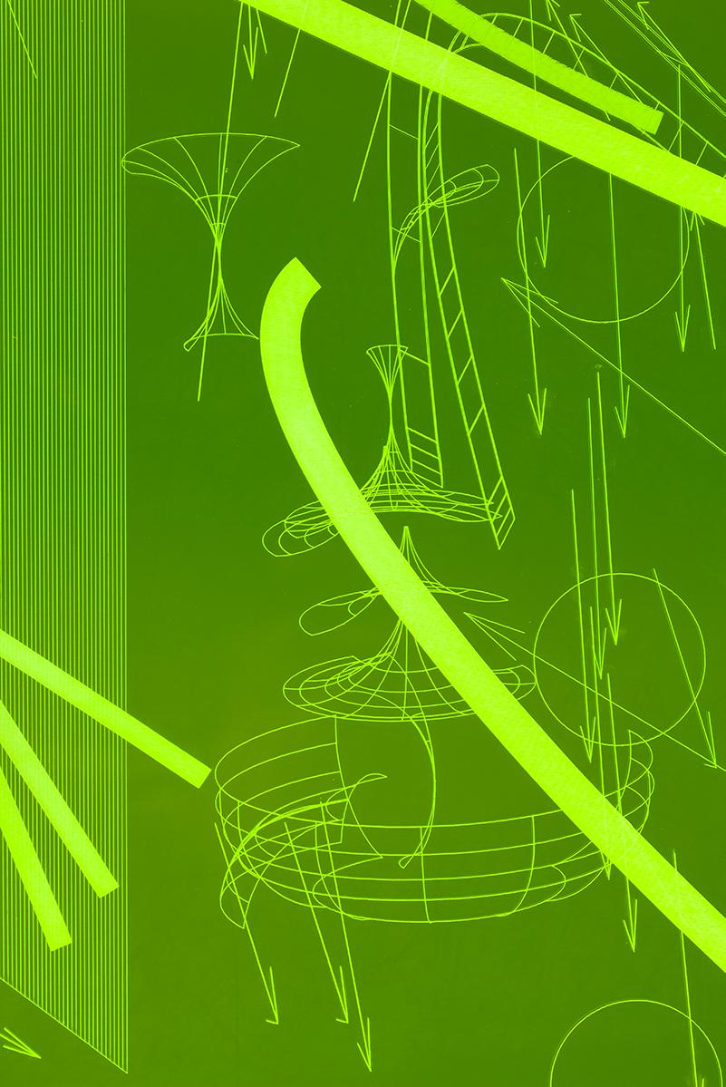 008_Fluorescentplexiglass sheet on aluminium frame_Detail_III